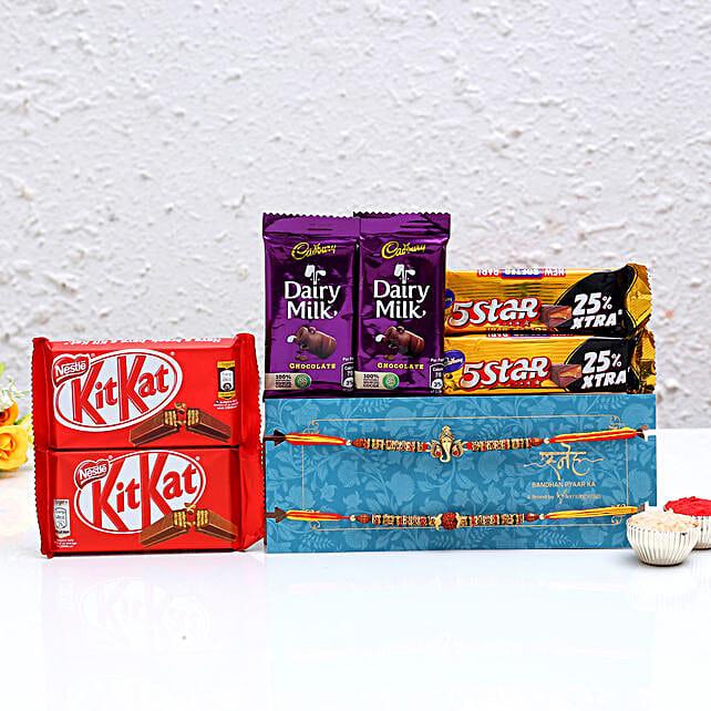 Traditional Rakhi Set & Chocolates- Hand Delivery