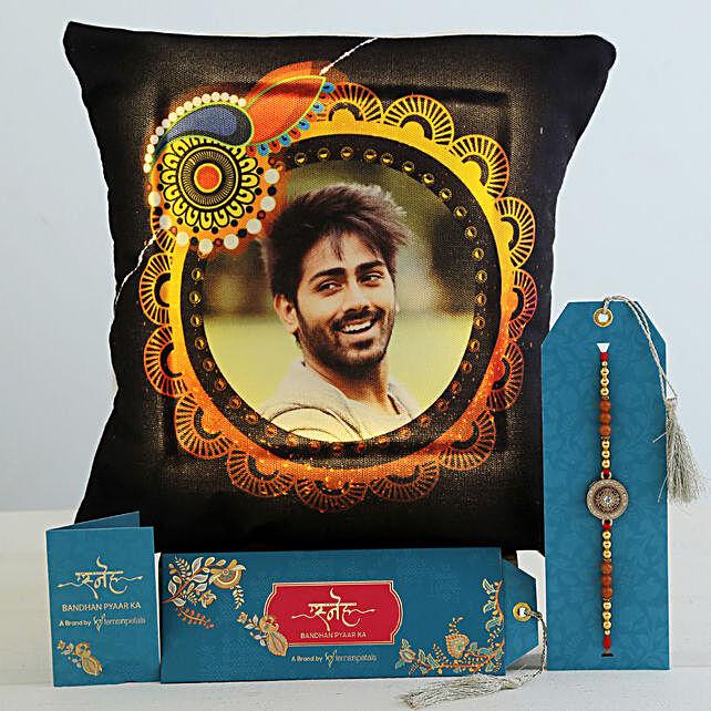 Meenakari Rakhi & Personalised LED Cushion Hamper:Rakhi With Cushions
