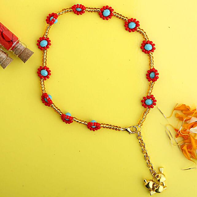 Elegant Pearl Lumba Rakhi Hamper:Bracelet Rakhi