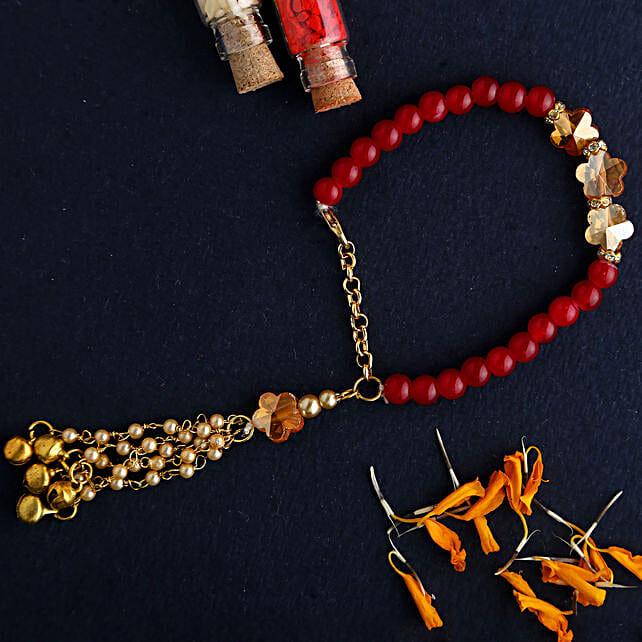 Pearl Lumba Bracelet Rakhi Hamper:Send Lumba Rakhi