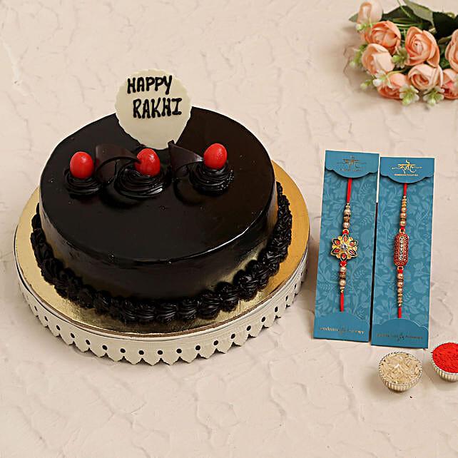 2 Traditional Rakhis N Choco Truffle Cake
