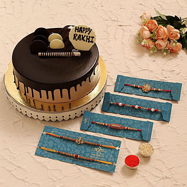 5 Designer Rakhis N Chocolate Cake