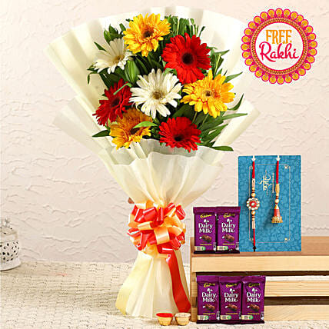 Free Lumba Rakhi Set With Gerberas Bunch and Dairy Milk:Send Rakhi With Flowers