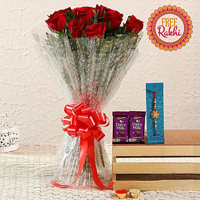 Free Meenakari Rakhi With Roses Bouquet and Dairy Milk