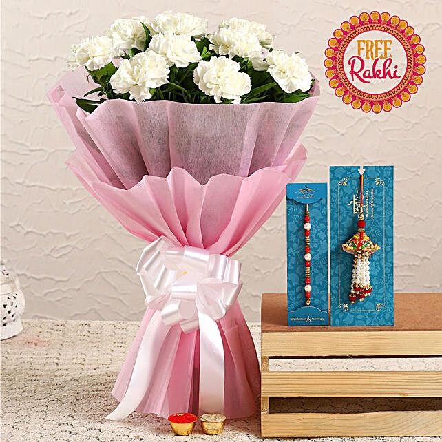 Free Pearl Lumba Rakhi Set With White Carnation Bouquet