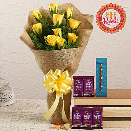 Free Pearl Rakhi With Yellow Roses Bunch and Dairy Milk