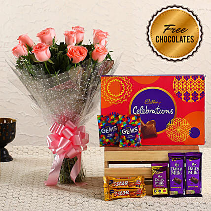 Lovely Pink Roses Bouquet & Free Chocolates