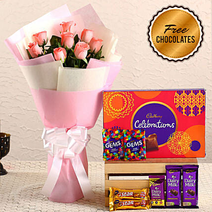 Pink Roses Bouquet & Free Chocolates