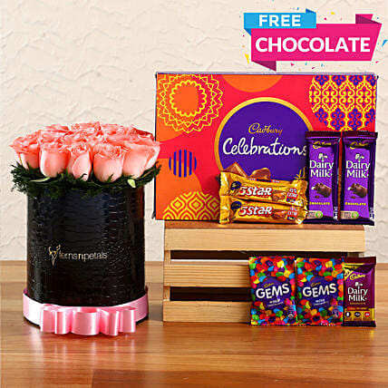 Pink Roses In FNP Signature Box & Free Chocolates