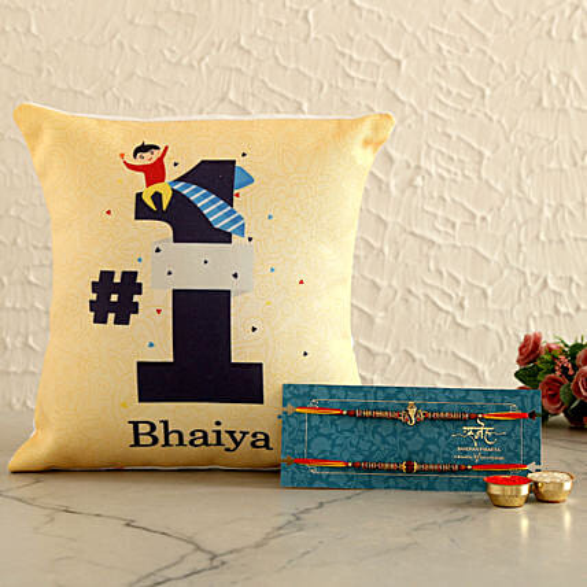 2 Spiritual Rakhis & No. 1 Bhaiya Cushion- Hand Delivery:Rakhi With Cushions
