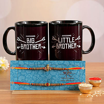 Set Of 2 Pious Rakhis & 2 Printed Mugs- Hand Delivery