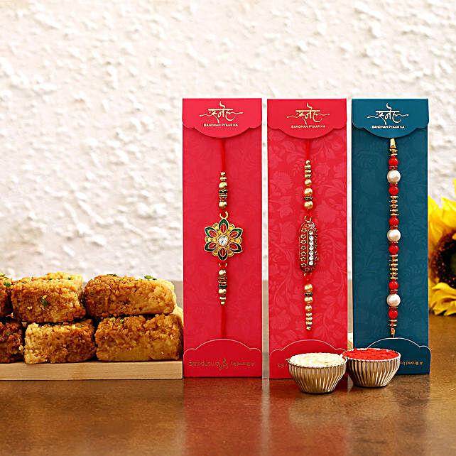 Stylish rakhi set with milk cake online