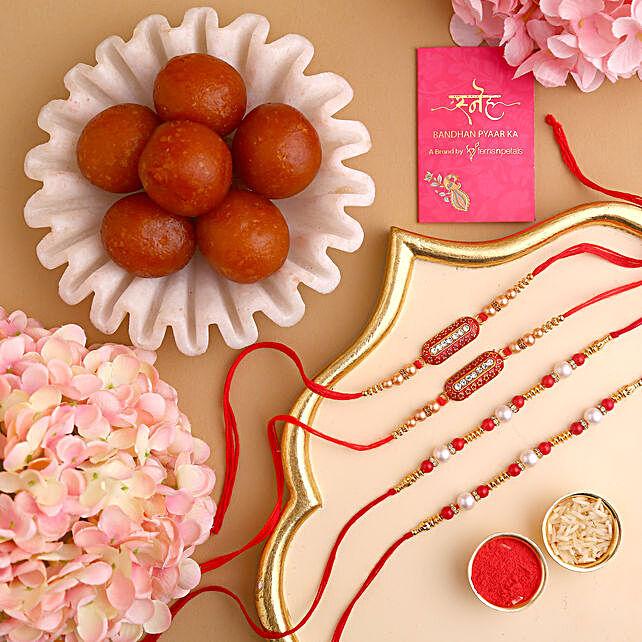 Online  Rakhi Set With Gulab Jamun Sweets