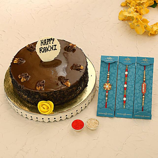 3 Beautiful Rakhis N Truffle Walnut Cake:All Rakhi