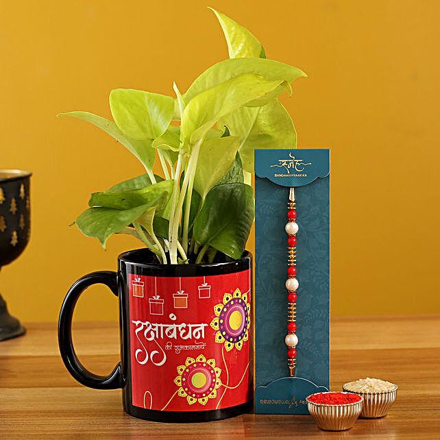 Pearl Rakhi and Money Plant Mug