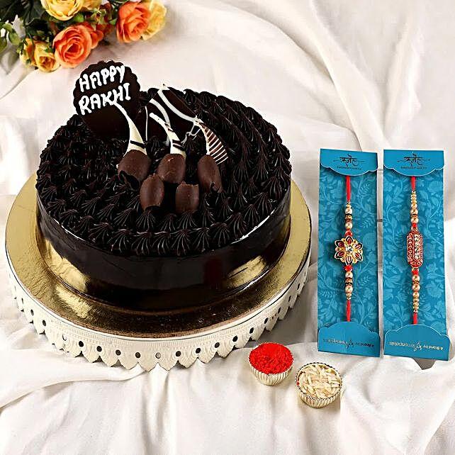 2 Elegant Rakhis N Fudge Brownie Cake