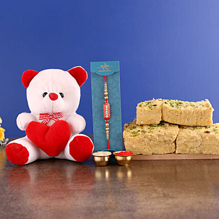 Capsule Rakhi With Teddy and Sweets Hand Delivery:Raksha Bandhan Soft toys