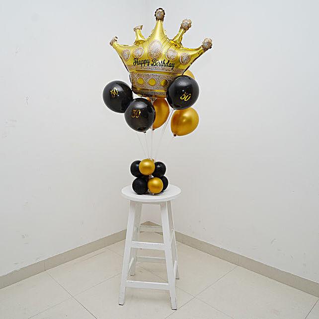 Crown Happy 50th Birthday Balloon Bouquet