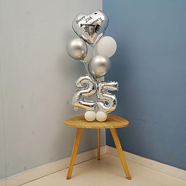 Silver 25th Anniversary Balloon Bouquet