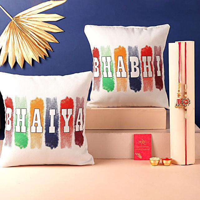 Bhaiya Bhabhi Rakhi and Cushion Set Hand Delivery:Rakhi With Cushions