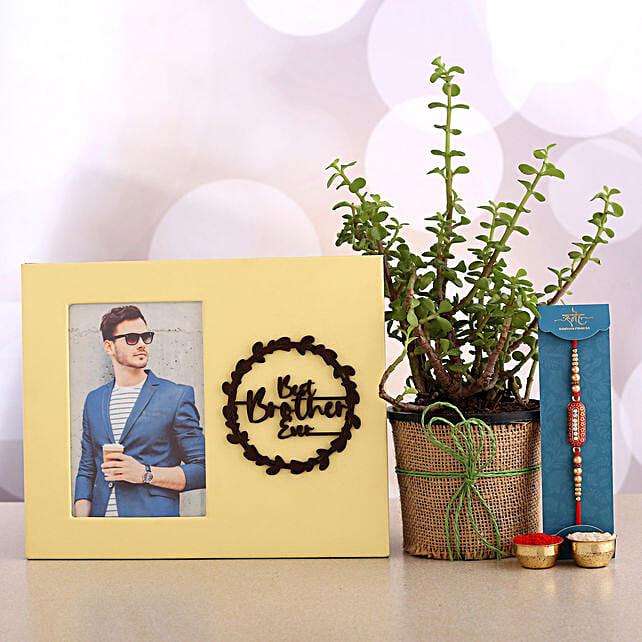 Designer Rakhi And Jade Plant With Personalised Frame:Meenakari Rakhi