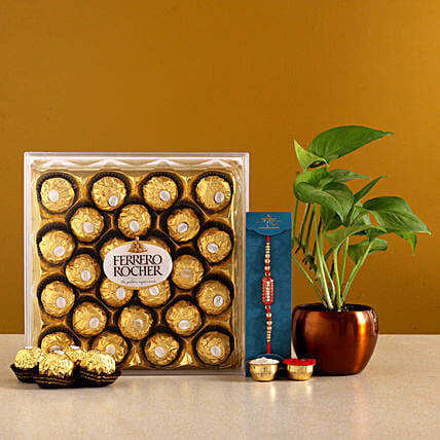 Designer Rakhi N Money Plant Pot With Ferrero Rochers