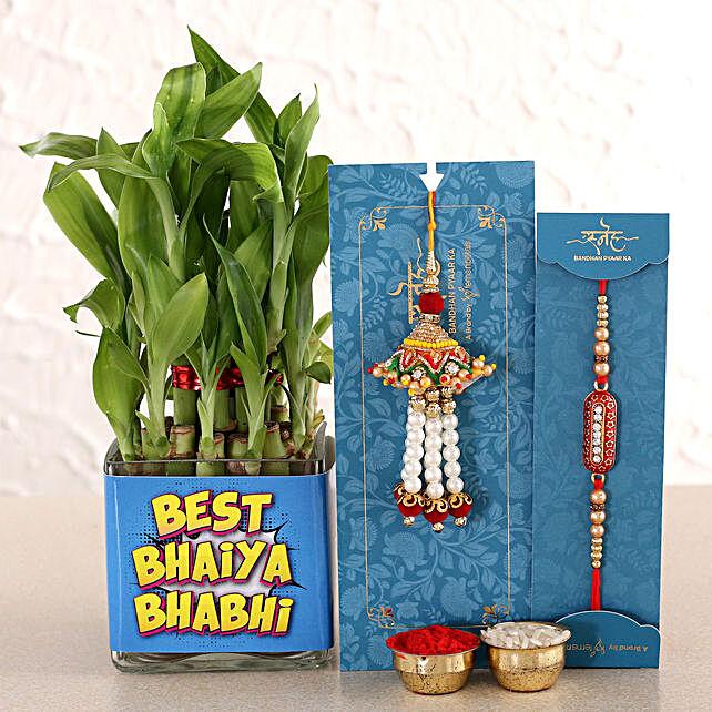 Ethnic Rakhi And Pearl Lumba With 2 Layer Bamboo Vase