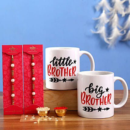 Set of 2 Rakhi and Brother Mugs Hand Delivery