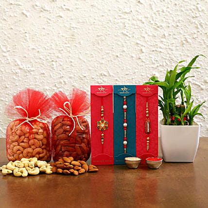 Set of 3 Rakhi And 2 Layer Bamboo With Dry Fruits
