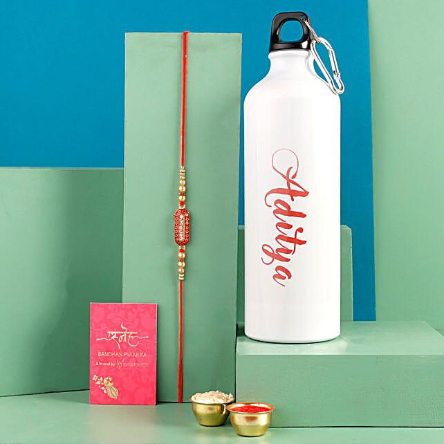 Sleek Rakhi and Personalised Bottle Hand Delivery
