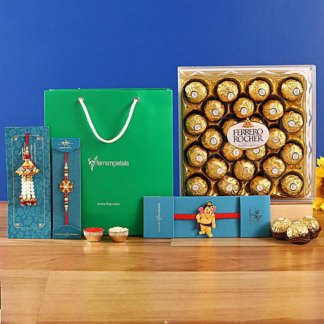 3 Traditional Rakhis and Ferrero Rocher
