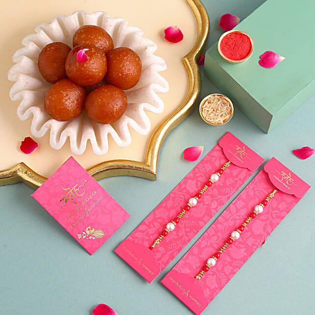 Pearl Rakhi Set and 1 Kg Gulab Jamun
