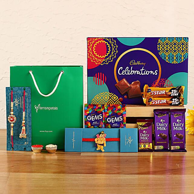 Set Of 3 Ethnic Rakhis and Cadbury Celebrations