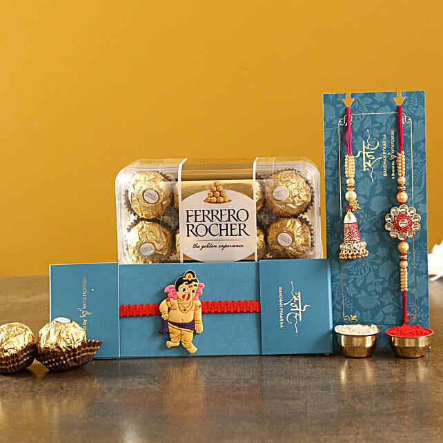 Set Of 3 Ethnic Rakhis and Ferrero Rocher Box