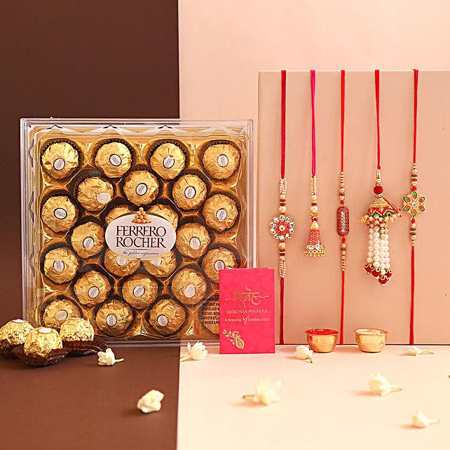 Set Of 5 Ethnic Rakhis and Ferrero Rocher