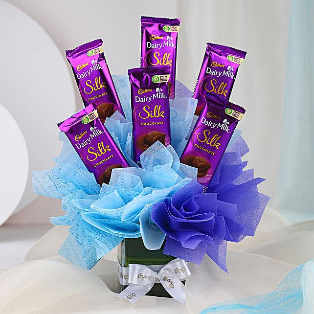 Cadbury Dairy Milk Silk Glass Vase Arrangement