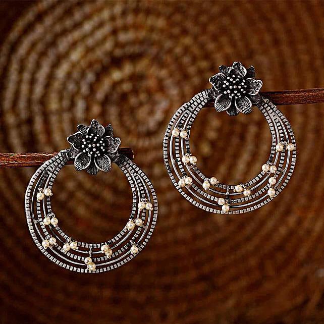 Floral Motif Silver Oxidised Earrings