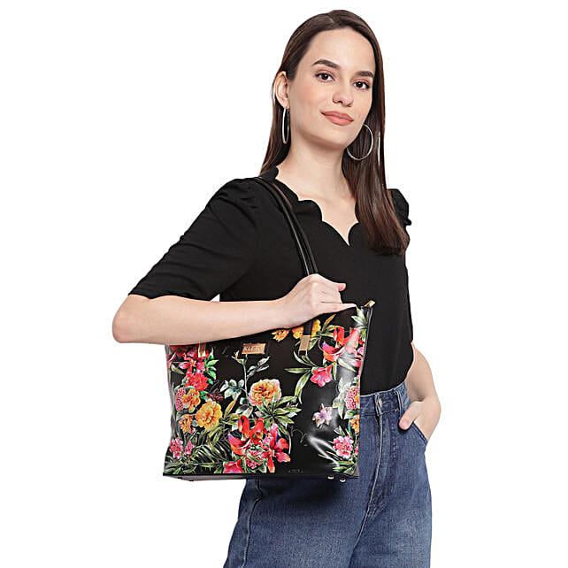 Kleio Floral Printed Black Tote Bag