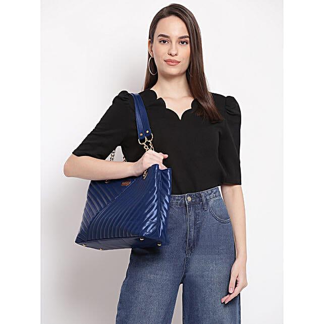 Kleio Royal Blue Quilted Chain Handle Handbag