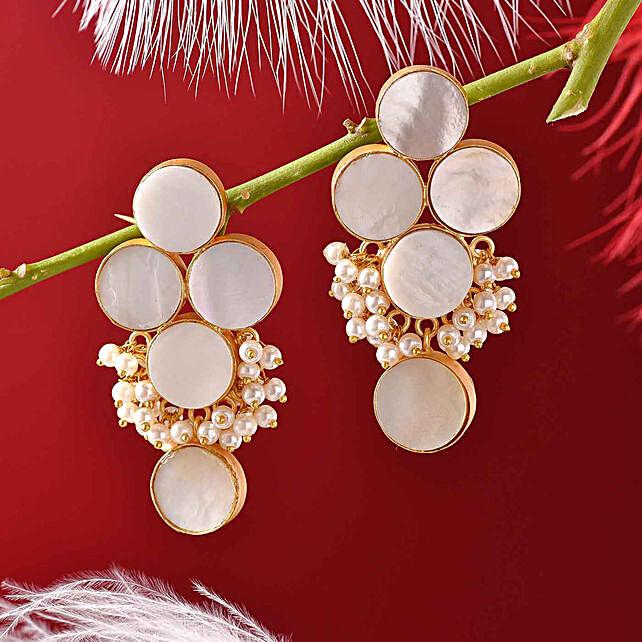 Mother Of Pearl Flat Cut Earrings