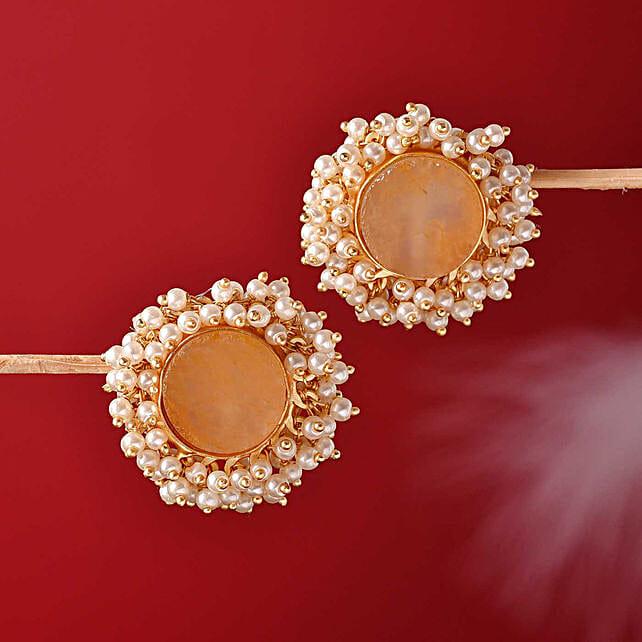 Orange Quartz 18 Kt Gold Polished Earrings