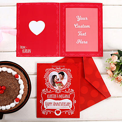 Personalised Red Anniversary Greeting Card:Personalised Greeting Cards