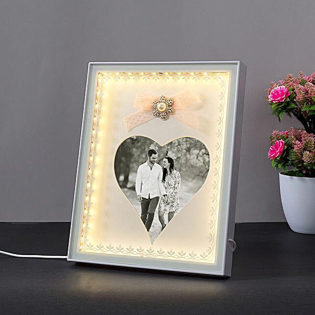 Personalised Heart Shaped White LED Photo Frame