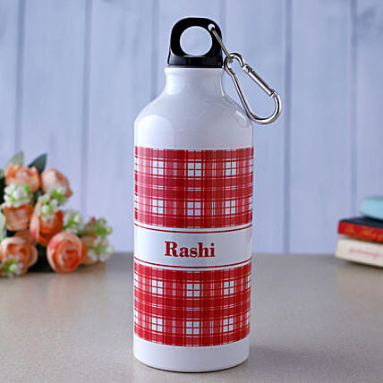 Personalised Checkered Water Bottle- Hand Delivery