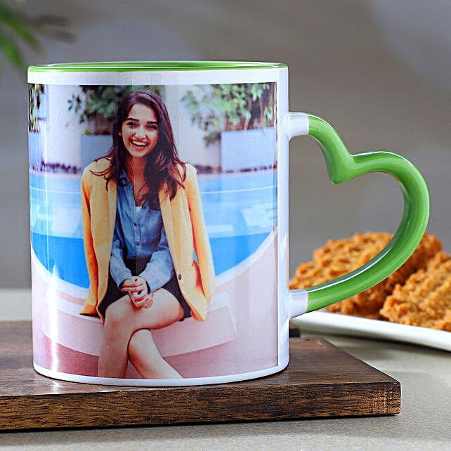 Personalised Green Heart Handle Mug:Personalised Mug