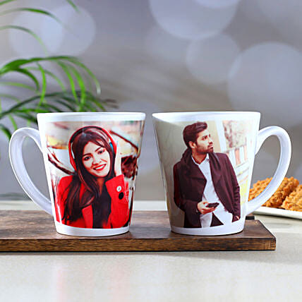 Set Of 2 Personalised Conical Mugs
