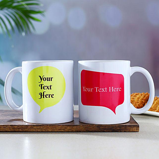 Set Of 2 Personalised Message Mugs:Personalised Mug