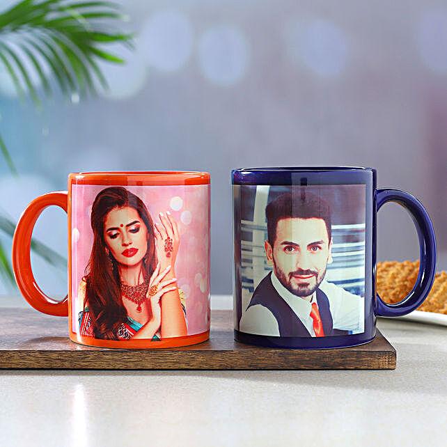 Set Of 2 Personalised Orange and Blue Mugs
