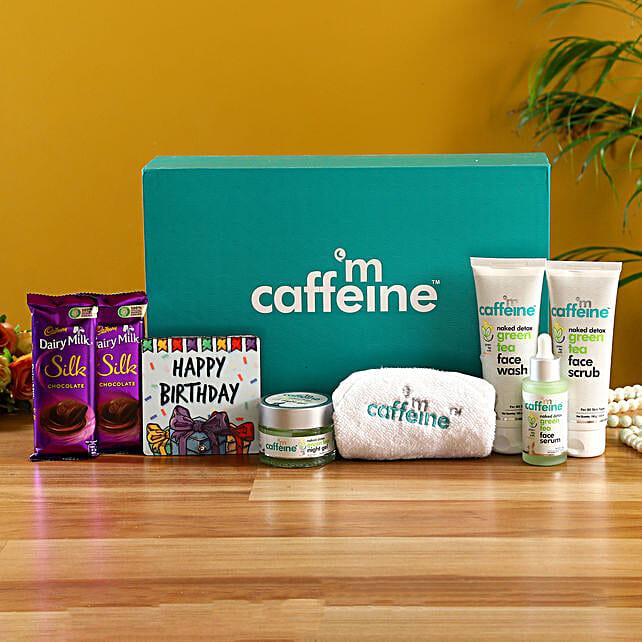 mcaffeine Green Tea Detox Kit With Birthday Table Top & Silk:Send Cosmetics & Spa Hampers