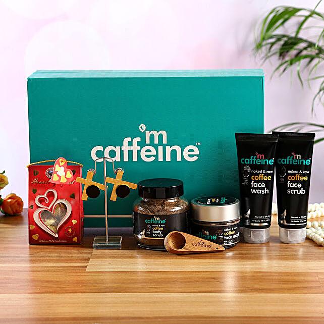 mcaffeine Skin Care Kit With Chocolates & Earrings:Cosmetics & Spa Hampers